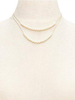 Faux Pearl Double Layered Wedding Jewelry Necklace - White