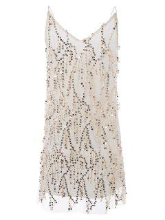 Sequins Cami A Line Tassels Club Dress - Beige L