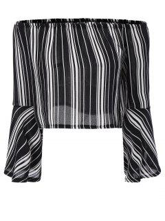 Striped Off The Shoulder Cropped Blouse - Black L