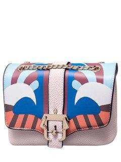 Striped Pattern Magnetic Closure Chain Crossbody Bag - Light Pink