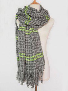 Stripe Houndstooth Tassel Pashmina - Gray