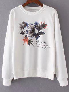 La Hoja De Arce Cuello Redondo De La Camiseta De Impresión - Blanco S