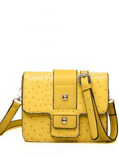 Double Rivet Magnetic Closure Embossing Crossbody Bag - Yellow