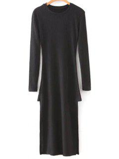 Side Slit Round Neck Long Sleeve Sweater Dress - Black M