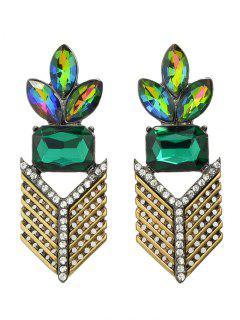 Faux Crystal Rhinestone Geometric Leaf Earrings - Golden