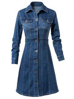 Turn-Down Collar Single-Breasted Denim Dress - Blue L