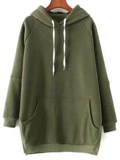 Solid Color Side Slit Drawstring Hoodie - Army Green M