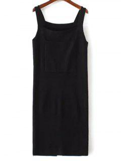 Back Slit Front Pocket Tank Sweater Dress - Black