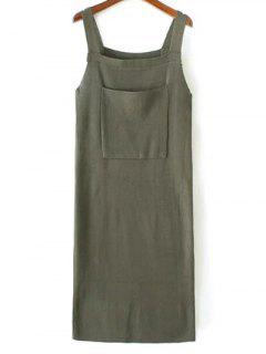 Back Slit Front Pocket Tank Sweater Dress - Army Green