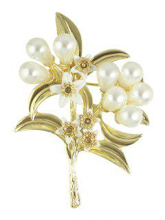 Faux Pearl Leaf Floral Alloy Brooch - Golden