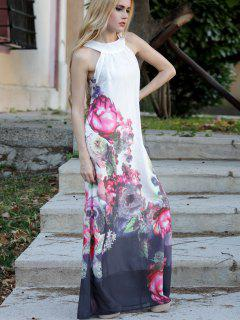 Floral Round Neck Sleeveless Maxi Dress - White M