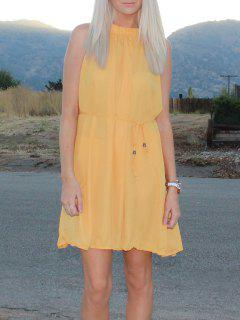Round Neck Ruffle Tie-Up Sleeveless Dress - Deep Yellow Xl