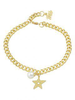 Faux Pearl Hollow Out Star Bracelet - Golden