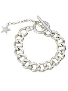 Pentagram Alloy Adorn Charm Bracelet - Silver