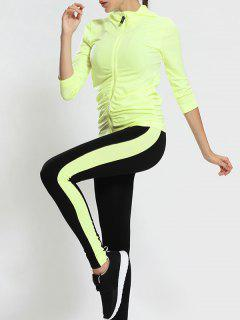 Zip Up Hooded Gym Jacket With Sports Leggings - Fluorescent Yellow M