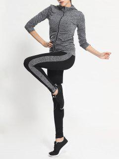 Zip Up Hooded Gym Jacket With Sports Leggings - Gray M