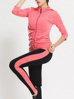 Zip Up Hooded Gym Jacket With Sports Leggings - Jacinth M