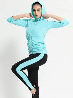 Zip Up Hooded Gym Jacket With Sports Leggings - Azure M