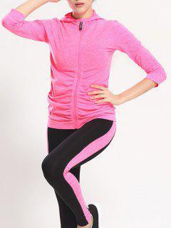 Hooded Zip Up Gym Veste De Sport Leggings - Rose M