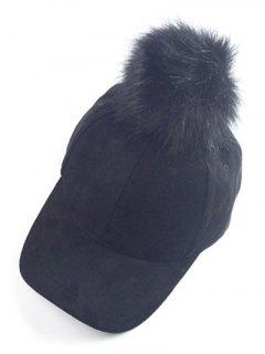 Big Fuzzy Ball Faux Suede Baseball Hat - Black