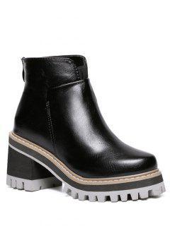 Zipper Round Toe Platform Ankle Boots - Black 38