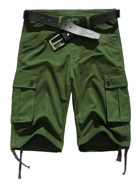 affordable Zipper Fly Straight Leg Pockets Embellished Drawstring Design Shorts - ARMY GREEN S Mobile