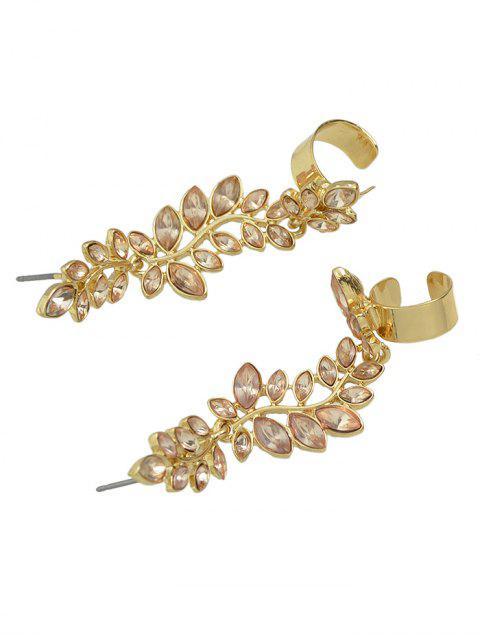 new Crystal Leaf Shape Ear Cuffs - GOLDEN  Mobile