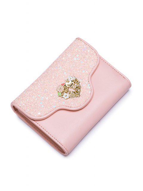 Blumenherz-Pailletten Kleine Geldbörse - Rosa  Mobile