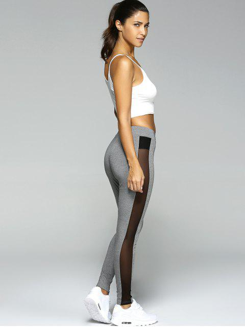 new Gauze Skinny Sport Leggings - GRAY L Mobile