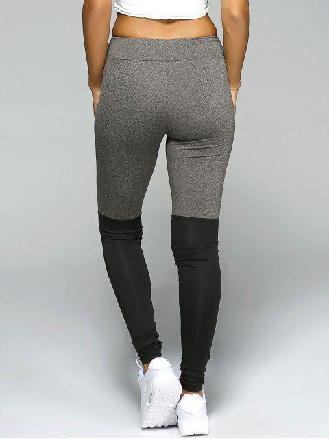 trendy Stretchy Sport Leggings - BLACK AND GREY M Mobile