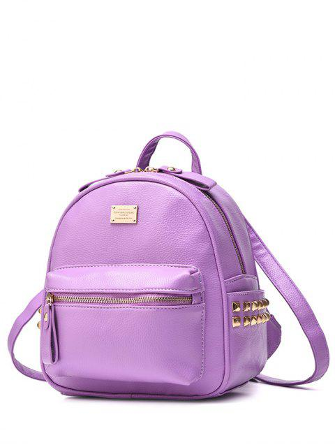 hot Metal Rivets Zippers PU Leather Backpack - LIGHT PURPLE  Mobile