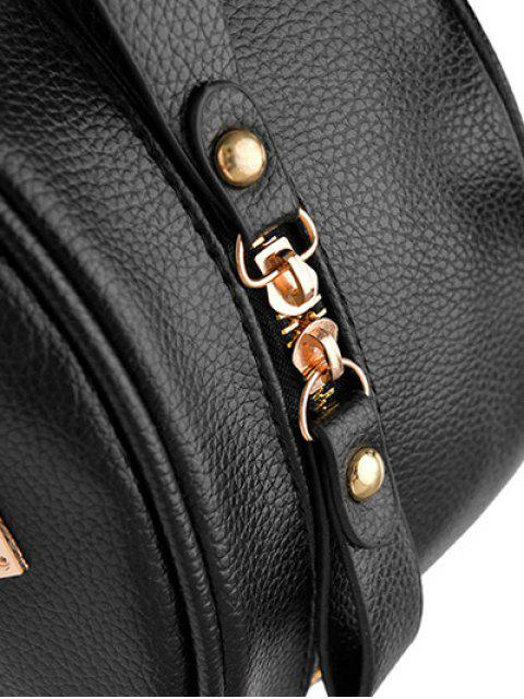 hot Metal Rivets Zippers PU Leather Backpack - LIGHT PURPLE  Mobile