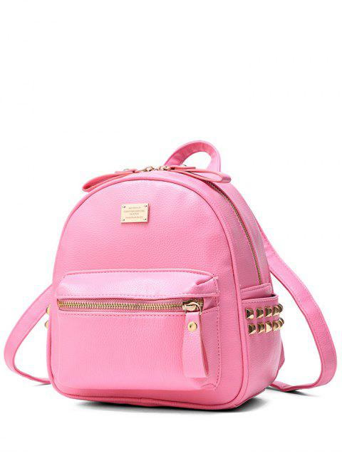 shop Metal Rivets Zippers PU Leather Backpack -   Mobile
