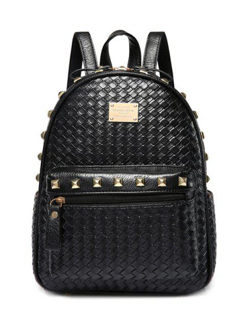 Tissé motif Rivets Zippers Backpack - Noir  Mobile