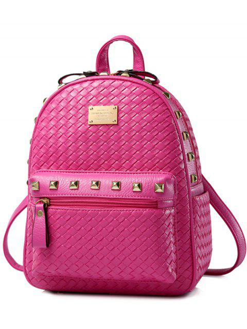 chic Woven Pattern Rivets Zippers Backpack - ROSE MADDER  Mobile