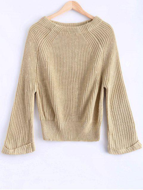 outfit Off Shoulder Chunky Sweater - APRICOT ONE SIZE Mobile