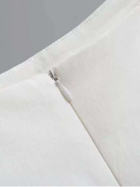chic Floral Applique Mini A Line Skirt - WHITE M Mobile
