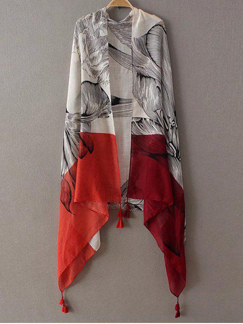 Skizze Blume Tassel Pashmina - Rot  Mobile