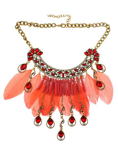 women Faux Crystal Feather Water Drop Necklace - JACINTH  Mobile