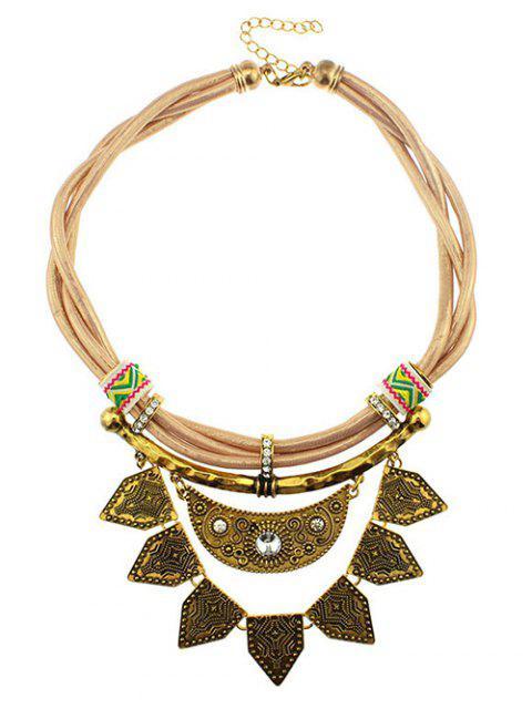 Kunstleder Strass Mond Geometrische Halskette - Gelb  Mobile