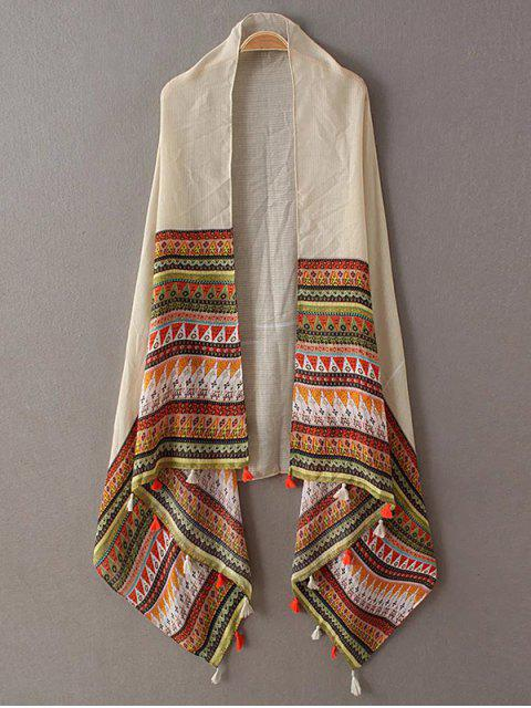 best Triangle Stripe Tassel Pashmina - BEIGE  Mobile