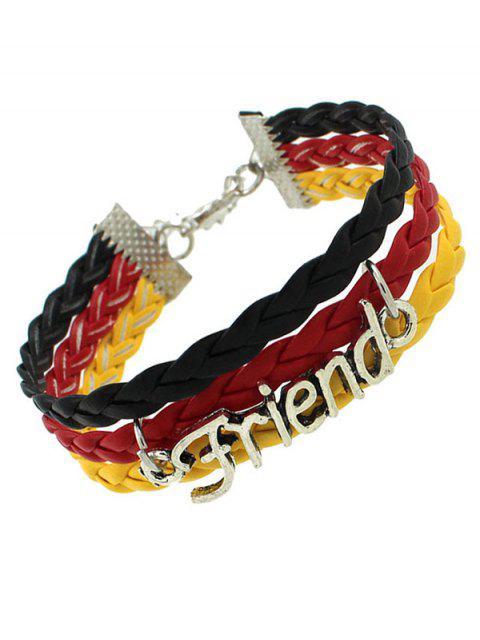 women's Faux Leather Flag Woven Friend Bracelet -   Mobile
