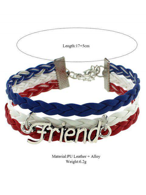 ladies Faux Leather Flag Woven Friend Bracelet -   Mobile