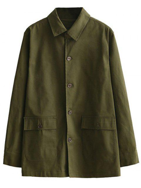 outfits Retro Embroidered Shirt Collar Coat - ARMY GREEN L Mobile