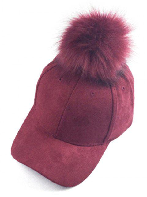 hot Big Fuzzy Ball Faux Suede Baseball Hat -   Mobile