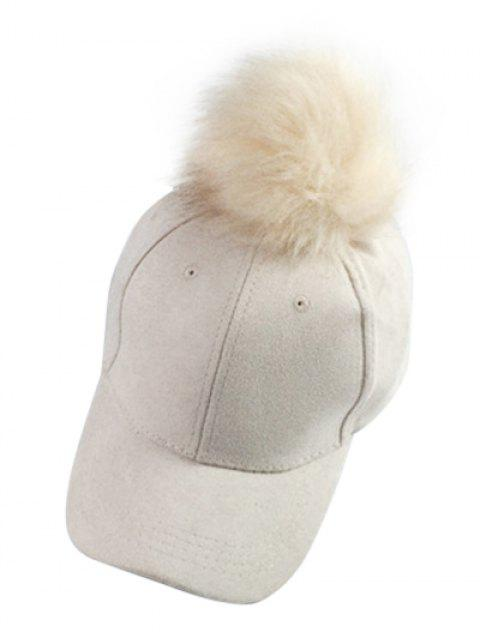 lady Big Fuzzy Ball Faux Suede Baseball Hat -   Mobile