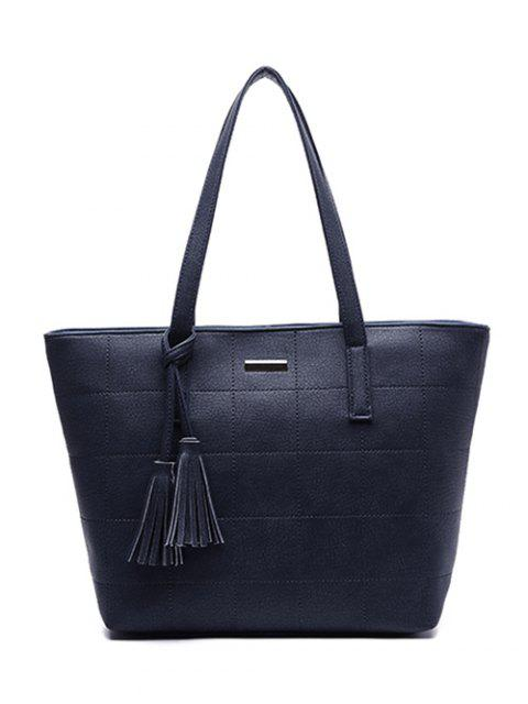 women's Checked Pattern Metal Tassels Shoulder Bag -   Mobile