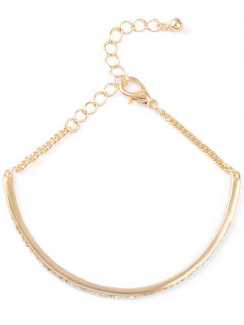 hot Alloy Rhinestone Half-Circle Chain Bracelet - GOLDEN  Mobile