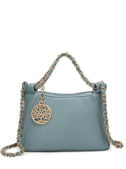 La bolsa de asas cadenas de metal de cuero PU - Azul  Mobile
