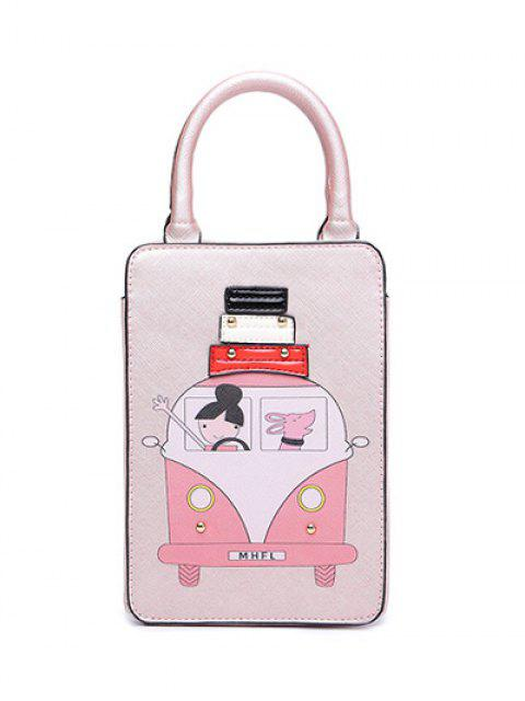 fashion Cartoon Print Metal Tote Bag - PINK  Mobile